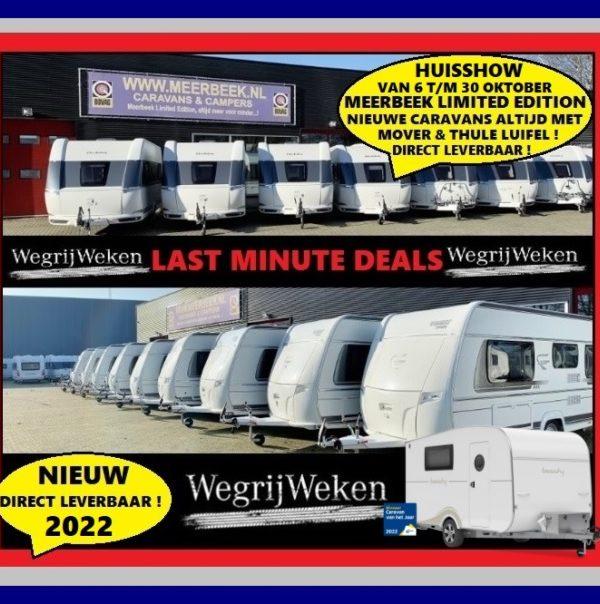 Huisshow bij Meerbeek Caravans & Campers ! Primeur 2022 & Hobby Beachy caravan van het jaar 2022 !